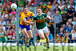 Stephen O'Brien Kerry in action against Cathal O'Connor Clare during the Munster GAA Football Senior Championship semi-final match between Kerry and Clare at Fitzgerald Stadium in Killarney on Sunday.
