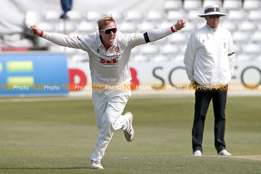 Simon Harmer of Essex celebrates taking the wicket of Ned Eckersley during Essex CCC vs Durham CCC, LV Insurance County Championship Group 1 Cricket at The Cloudfm County Ground on 18th April 2021