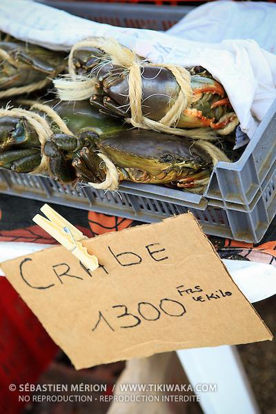 Etalage de crabes de palétuviers sur un marché local, Nouvelle-Calédonie