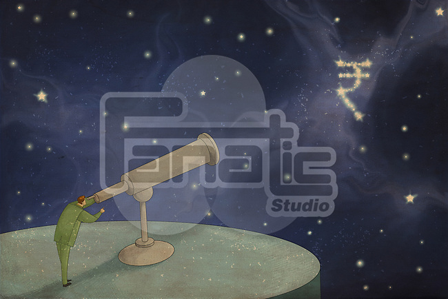 Illustrative image of businessman looking through telescope at Indian currency symbol representing forecast and target