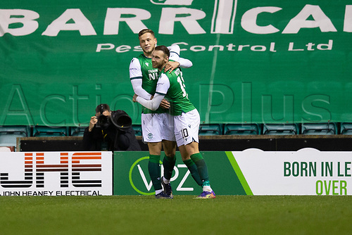 15th November 2020; Easter Road, Edinburgh, Scotland; Scottish League Cup Football, Hibernian versus Dundee FC; Jamie Gullan of Hibernian is congratulated after scoring for 3-1 by Martin Boyle in the 79th minute