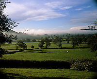 Low-lying clouds dust the tops of the distant trees in this idyllic Welsh landscape