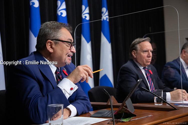 Point de presse <br /> du premier ministre du Québec, M. François Legault,<br /> avec le ministre de la Santé et des Services sociaux, M. Christian Dubé, et le directeur national de la santé publique, M. Horacio Arruda<br /> le 10  Novembre 2020<br /> <br /> PHOTO :  Emilie Nadeau