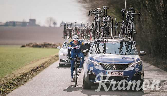 Philippe Gilbert (BEL/Quick Step floors) getting some mechanical assistence on-the-fly<br /> <br /> 50th GP Samyn 2018<br /> Quaregnon > Dour: 200km (BELGIUM)