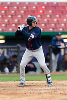 Cedar Rapids Kernels third baseman Andrew Bechtold (4) during a Midwest League game against the Kane County Cougars at Northwestern Medicine Field on April 28, 2019 in Geneva, Illinois. Cedar Rapids defeated Kane County 3-2 in game two of a doubleheader. (Zachary Lucy/Four Seam Images)