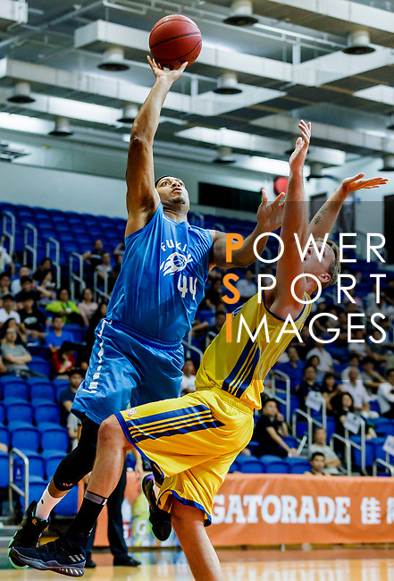 Wills Wallace #44 of Fukien Basketball Team tries to score against Winling during the Hong Kong Basketball League game between Winling and Fukien at Southorn Stadium on May 29, 2018 in Hong Kong. Photo by Yu Chun Christopher Wong / Power Sport Images