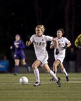 "Boston College forward Kristen Mewis (19) dribbles. In overtime, Boston College defeated University of Washington, 1-0, in NCAA tournament ""Elite 8"" match at Newton Soccer Field, Newton, MA, on November 27, 2010."