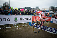 Simon Andreassen (DEN) bunny hopping the barriers<br /> <br /> Men Juniors Race<br /> <br /> 2015 UCI World Championships Cyclocross <br /> Tabor, Czech Republic