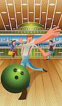 Man playing ten pin bowling
