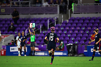 ORLANDO CITY, FL - FEBRUARY 24: Megan Rapinoe #15 of the USWNT runs off for the sub during a game between Argentina and USWNT at Exploria Stadium on February 24, 2021 in Orlando City, Florida.