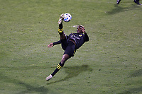 COLUMBUS, OH - DECEMBER 12: Gyasi Zardes #11 of the Columbus Crew attempts an overhead bicycle kick during a game between Seattle Sounders FC and Columbus Crew at MAPFRE Stadium on December 12, 2020 in Columbus, Ohio.