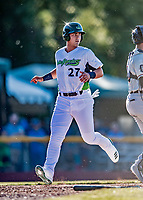 19 June 2018: Vermont Lake Monsters designated hitter Aaron Arruda comes home to score Vermont's second run in the 2nd inning against the Connecticut Tigers at Centennial Field in Burlington, Vermont. The Lake Monsters defeated the Tigers 5-4 in the conclusion of a rain-postponed Lake Monsters Opening Day game started June 18. Mandatory Credit: Ed Wolfstein Photo *** RAW (NEF) Image File Available ***