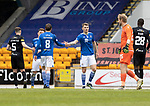 St Johnstone v Livingston…15.05.21  SPFL McDiarmid Park<br />Jason Kerr and Murray Davidson at full time after sealing fifth place<br />Picture by Graeme Hart.<br />Copyright Perthshire Picture Agency<br />Tel: 01738 623350  Mobile: 07990 594431