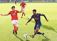 Blackpool's Grant Ward has his cross attempt charged down by Crewe Alexandra's Perry Ng<br /> <br /> Photographer Rich Linley/CameraSport<br /> <br /> The EFL Sky Bet League One - Crewe Alexandra v Blackpool - Saturday 17th October 2020 - Gresty Road - Crewe<br /> <br /> World Copyright © 2020 CameraSport. All rights reserved. 43 Linden Ave. Countesthorpe. Leicester. England. LE8 5PG - Tel: +44 (0) 116 277 4147 - admin@camerasport.com - www.camerasport.com