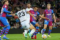 20th September 2021; Nou Camp, Barcelona, Spain; La Liga football league;  FC Barcelona versus Granada;   Eric Garcia tackles Molina