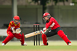 Natural Yip Sze Wan (r) of Hong Kong in action with Zou Miao (l) of China during their ICC 2016 Women's World Cup Asia Qualifier match between China and Hong Kong on 10 October 2016 at the Hong Kong Cricket Club in Hong Kong, China. Photo by Victor Fraile / Power Sport Images