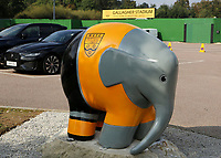 Elmer, the patchwork elephant, is located in the Maidstone United FC car park during Maidstone United vs Eastbourne Borough, Vanarama National League South Football at the Gallagher Stadium on 9th October 2021