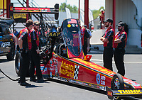 Apr 14, 2019; Baytown, TX, USA; Crew members with NHRA top fuel driver Brittany Force during the Springnationals at Houston Raceway Park. Mandatory Credit: Mark J. Rebilas-USA TODAY Sports