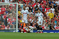 Pictured: (L-R) Steven Caulker, Ashley Williams and Leon Britton of Swansea City in action. Saturday 10 September 2011<br />