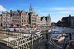 Belgium, Oost Vlaanderen, Ghent: View along the Graslei from Grasbrug