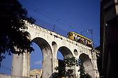Rio de Janeiro, Brazil. A 'Bonde' tram passing over the Arcos da Lapa.