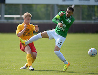 Racing Waregem - SC Chatelet : Glen Maddens (links) in duel met Samir Derraz (r)<br /> foto VDB / BART VANDENBROUCKE