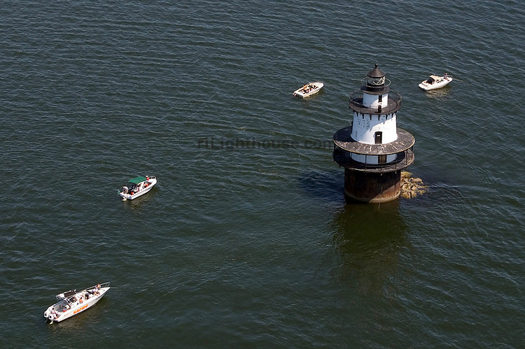 Fisherman try their luck at the shoal surrounding Hog Island Lighthouse.
