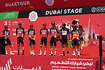 Lotto-Soudal at sign on before the start of Stage 6 of the 2021 UAE Tour running 165km from Deira Island to Palm Jumeirah, Dubai, UAE. 26th February 2021.  <br /> Picture: Eoin Clarke   Cyclefile<br /> <br /> All photos usage must carry mandatory copyright credit (© Cyclefile   Eoin Clarke)