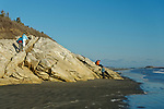 Sewall Beach at high tide, Phippsburg, Maine, USA