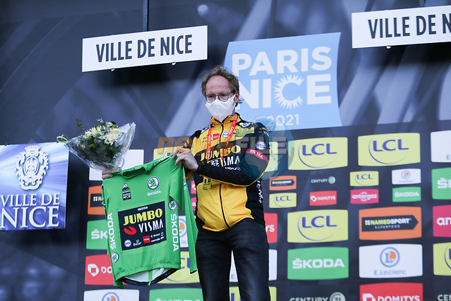 An absent Primoz Roglic (SLO) Team Jumbo-Visma receiving medical attention wins the points Green Jersey classififation of Paris-Nice 2021 at the end of Stage 8 running 92.7km from Le Plan-du-Var to Levens, France. 14th March 2021.<br /> Picture: ASO/Fabien Boukla | Cyclefile<br /> <br /> All photos usage must carry mandatory copyright credit (© Cyclefile | ASO/Fabien Boukla)