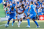 Damian Suarez of Getafe CF and Manu Garcia of Deportivo Alaves during La Liga match between Getafe CF and Deportivo Alaves at Colisseum Alfonso Perez in Getafe, Spain. August 31, 2019. (ALTERPHOTOS/A. Perez Meca)