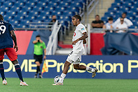 FOXBOROUGH, MA - JULY 23: Dante Campbell #48 of Toronto FC II passes the ball during a game between Toronto FC II and New England Revolution II at Gillette Stadium on July 23, 2021 in Foxborough, Massachusetts.