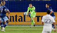 CARSON, CA - OCTOBER 18: Evan Bush #30 GK of the Vancouver Whitecaps chases down a ball in the box during a game between Vancouver Whitecaps and Los Angeles Galaxy at Dignity Heath Sports Park on October 18, 2020 in Carson, California.