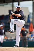 Detroit Tigers starting pitcher Michael Fulmer (32) delivers a pitch during a Grapefruit League Spring Training game against the New York Yankees on February 27, 2019 at Publix Field at Joker Marchant Stadium in Lakeland, Florida.  Yankees defeated the Tigers 10-4 as the game was called after the sixth inning due to rain.  (Mike Janes/Four Seam Images)