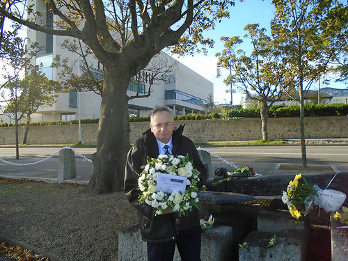 RMS Leinster Wreath laying in 2020. The RMS Leinster Memorial Committee Richard Cruise laying the wreath in 2020 in a social distanced small gathering that included local TDs and Councillors. The RMS Leinster Memorial Committee hopefully more people can attend this year if pandemic rules allow it.