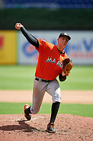 Miami Marlins pitcher Brady Puckett (44) delivers a pitch during a Florida Instructional League game against the Washington Nationals on September 26, 2018 at the Marlins Park in Miami, Florida.  (Mike Janes/Four Seam Images)