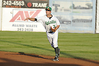 Andy Peterson #3 of the Clinton LumberKings throws to first base  against the South Bend Silver Hawks at Ashford University Field on July 26, 2014 in Clinton, Iowa. The Sliver Hawks won 2-0.   (Dennis Hubbard/Four Seam Images)
