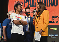 LAS VEGAS, NV - AUG 20:  Manny Pacquiao and Heidi Androl at the official weigh-in at the MGM Grand Garden Arena for the upcoming Fox Sports PBC pay-per-view fight night on August 20, 2021. The Pacquiao vs Ugas pay-per-view will be on August 21 at T-Mobile Arena in Las Vegas. (Photo by Scott Kirkland/Fox Sports/PictureGroup)