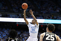 CHAPEL HILL, NC - MARCH 03: Christian Keeling #55 of the University of North Carolina shoots the ball during a game between Wake Forest and North Carolina at Dean E. Smith Center on March 03, 2020 in Chapel Hill, North Carolina.
