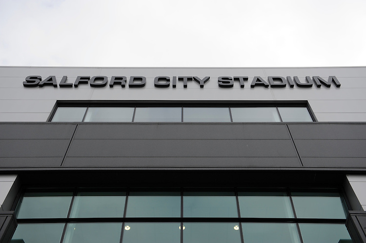 20130310 Copyright onEdition 2013©.Free for editorial use image, please credit: onEdition..General view of the Salford City Stadium before the LV= Cup semi final match between Sale Sharks and Saracens on Sunday 10th March 2013 (Photo by Rob Munro)..For press contacts contact: Sam Feasey at brandRapport on M: +44 (0)7717 757114 E: SFeasey@brand-rapport.com..If you require a higher resolution image or you have any other onEdition photographic enquiries, please contact onEdition on 0845 900 2 900 or email info@onEdition.com.This image is copyright onEdition 2013©..This image has been supplied by onEdition and must be credited onEdition. The author is asserting his full Moral rights in relation to the publication of this image. Rights for onward transmission of any image or file is not granted or implied. Changing or deleting Copyright information is illegal as specified in the Copyright, Design and Patents Act 1988. If you are in any way unsure of your right to publish this image please contact onEdition on 0845 900 2 900 or email info@onEdition.com