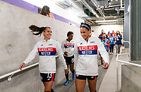 ORLANDO, FL - FEBRUARY 21: Alex Morgan #13 and Lynn Williams #6 of the USWNT leave the locker room before a game between Brazil and USWNT at Exploria Stadium on February 21, 2021 in Orlando, Florida.