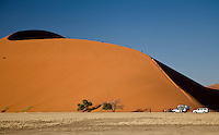 Tourists climbing Dune 7, the tallest dune at Sossusvlei, Namib Naukluft National Park, Namibia, Sossuslvei