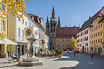 Germany, Bavaria, Middle Franconia, Ansbach: Martin-Luther-Square with Bach-memorial and St Gumbertus church | Deutschland, Bayern, Mittelfranken, Ansbach: Martin-Luther-Platz mit Bach-Denkmal und St. Gumbertus Kirche