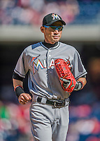 20 September 2015: Miami Marlins outfielder Ichiro Suzuki returns to the dugout after an inning in right field against the Washington Nationals at Nationals Park in Washington, DC. The Marlins fell to the Nationals 13-3 in the final game of their 4-game series. Mandatory Credit: Ed Wolfstein Photo *** RAW (NEF) Image File Available ***