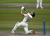 28th May 2021; Emirates Old Trafford, Manchester, Lancashire, England; County Championship Cricket, Lancashire versus Yorkshire, Day 2; Dane Vilasof Lancashire goes for another big hit but can only watch as it skies upwards and into the hands of Yorkshire fielder Tom Kohler-Cadmore