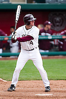 Brent Seifert (4) of the Missouri State Bears waits at the plate during a game against the Oral Roberts Golden Eagles on March 27, 2011 at Hammons Field in Springfield, Missouri.  Photo By David Welker/Four Seam Images