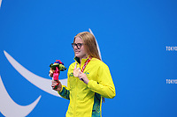 26th August 2021; Tokyo, Japan; Bronze medalist DEDEKIND Katja (AUS)<br /> celebrates on the podium for the Swimming : Women's 100m Backstroke - S13 Final - Medal Ceremony on August 26, 2021 during the Tokyo 2020 Paralympic Games at the Tokyo Aquatics Centre in Tokyo, Japan.