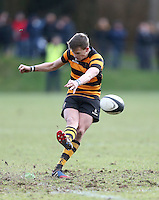 RBAI vs R S ARMAGH | Saturday 21st February 2015<br /> <br /> TJ Morris converts during 2015 Ulster Schools Cup Quarter-Final between RBAI and Royal School Armagh at Osborne Park, Belfast, Northern Ireland.<br /> <br /> Picture credit: John Dickson / DICKSONDIGITAL