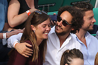 Thomas Hollande and girlfriend seen watching tennis during Roland Garros tennis open 2016 on may 28 2016.
