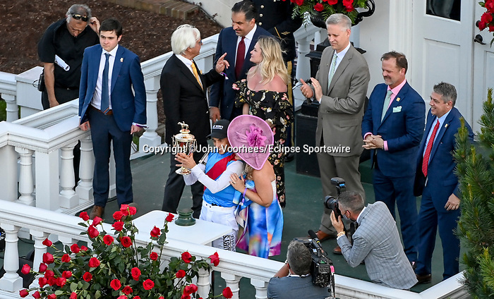 May 1, 2021 : Connections celebrate Medina Spirit, #8, ridden by jockey John Velazquez, winning the 147th running of the Kentucky Derbyon Kentucky Derby Day at Churchill Downs on May 1, 2021 in Louisville, Kentucky. John Voorhees/Eclipse Sportswire/CSM